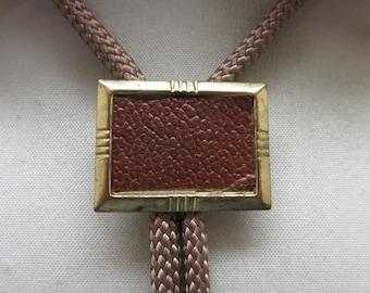 Vintage Brown Leather Tailored Bolo Tie, Non Western Bolo, 1960s