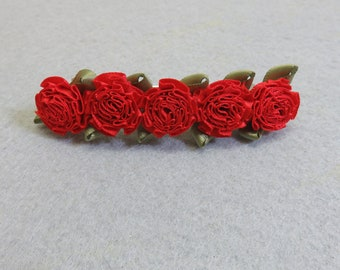 Vintage Red Silk Ribbon Roses Hair Barrette, 3 1/2 Inches Long