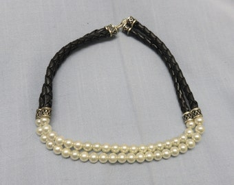 Leather and Faux Pearl Necklace, Vintage, Collar Style, Choker Necklace