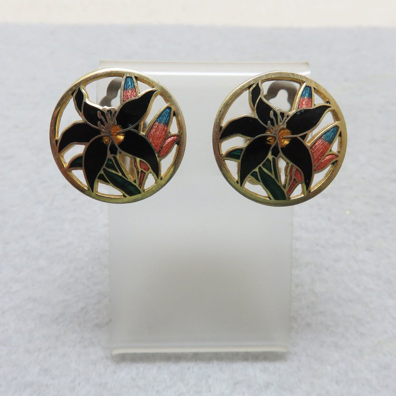 Oriental Lily Cloisonne  Clip On Earrings Cut Out Design image 0