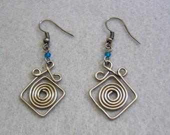 Silvery Spiral Pierced Earrings, Vintage