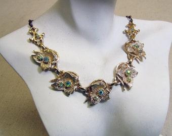 1960s Rhinestone Leaf 17 inch Collar Necklace
