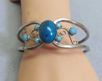 Faux Turquoise Delicate Hinged Bangle Bracelet