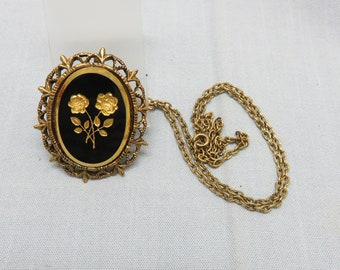 Glass Intaglio Floral Cameo Necklace,  1960s Victorian Revival, Black and Beautiful