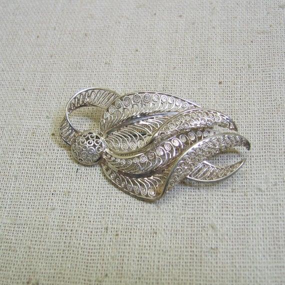 Large Wirework Brooch Vintage Sterling Silver Wirework Leaf and Berry Brooch