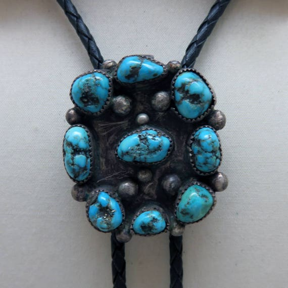 Vintage Turquoise Native American Bolo Tie, Matche