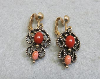 AVON Ethnic Filigree Clip On Earrings, Rust and Salmon Cabochons in Goldtone Metal