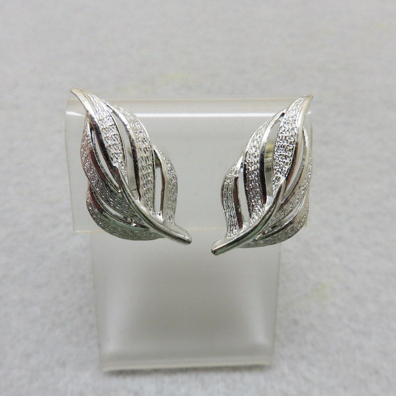 1960s Silver Leaf Clip On Earrings image 0