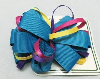 Blue Grosgrain Ribbon Hair Bow, Mint on Card Hair Bow