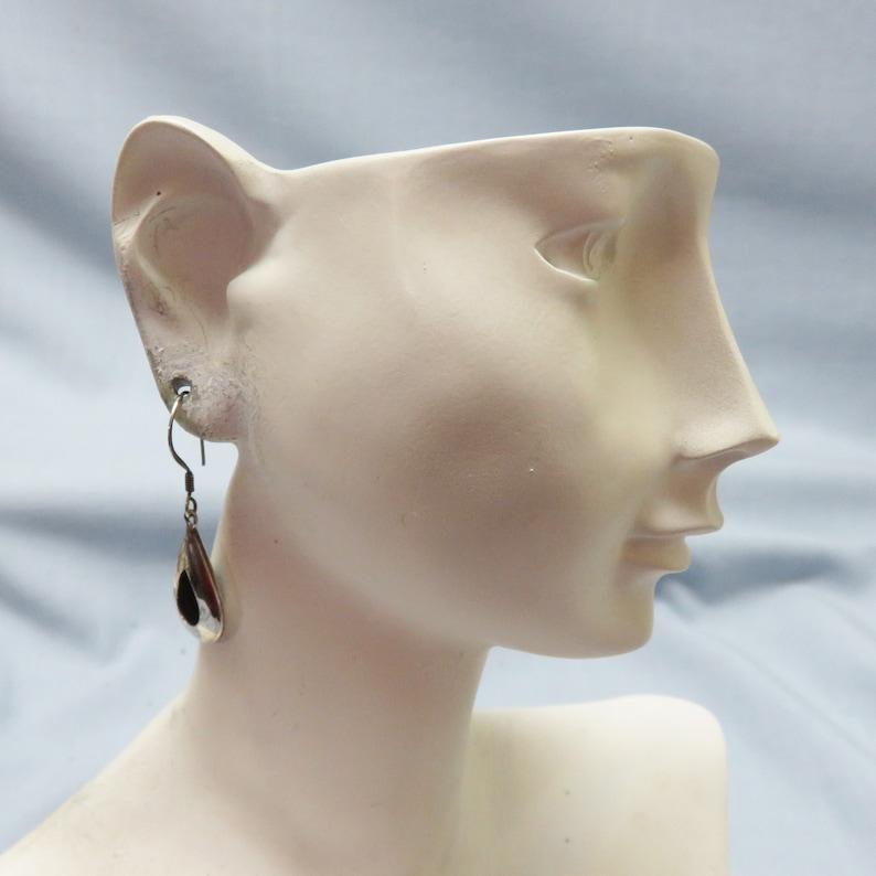 Vintage Pierced Earrings Sterling Teardrop Loop Design