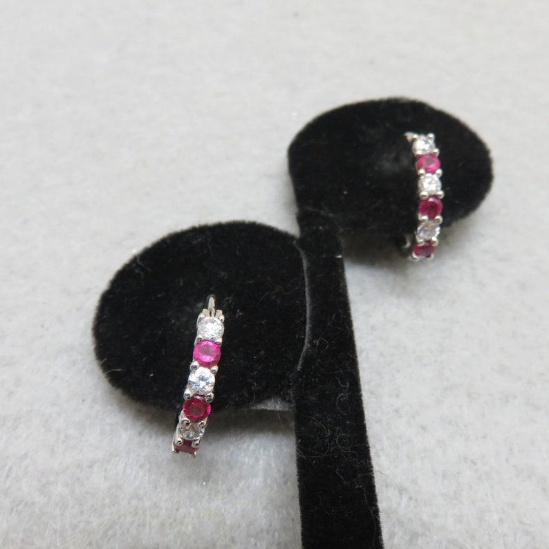 Ruby and Cubic Zirconia Sterling Half Hoop Earrings Vintage image 0