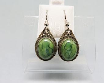 Victorian Style Green Glass Drop Pierced  Earrings, French Hooks