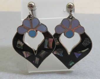 Vintage Abalone Shell,Mexican Alpaca Metal Clip On Dangle Earrings