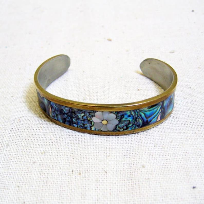 Vintage Alpaca Metal Abalone Shell Cuff Bracelet image 0
