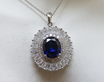 Sapphire Clear Cubic Zirconia Sterling Silver Pendant, Ballerina Style
