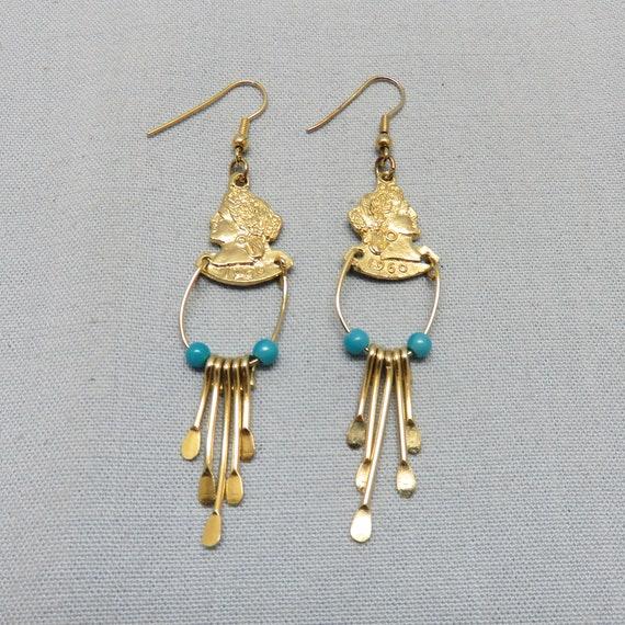 Cool Vintage Golden Lady Dangle Pierced Earrings