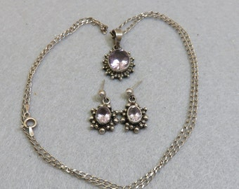 Sterling Silver Amethyst Pendant Necklace and Matching Pierced Earrings, 24 inch Chain, Victorian Look