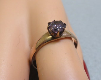 Gold Plated  Purple Cubic Zirconia Ring,  Size 10.75