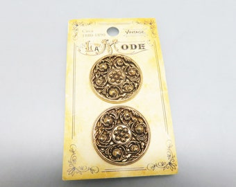 Gorgeous Filigree Victorian Style Buttons, Set of 2, La Mode