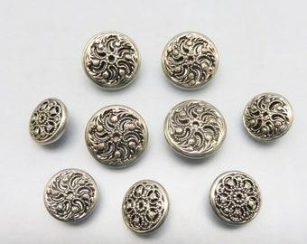 Set of 9 Filigree Metal Buttons, Vintage , 2 Sizes
