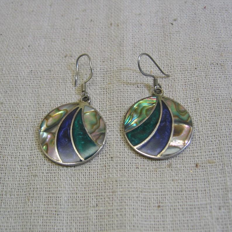1e92d09e1 Vintage Abalone Shell Dangling Circle Pierced Earrings | Etsy