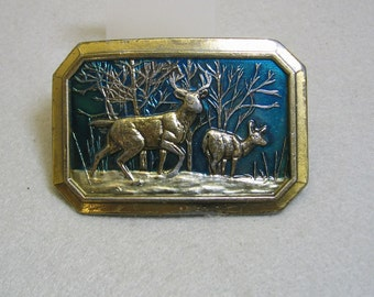Vintage Solid Brass and Enamel Great American Buckle Company Mule Deer Buckle