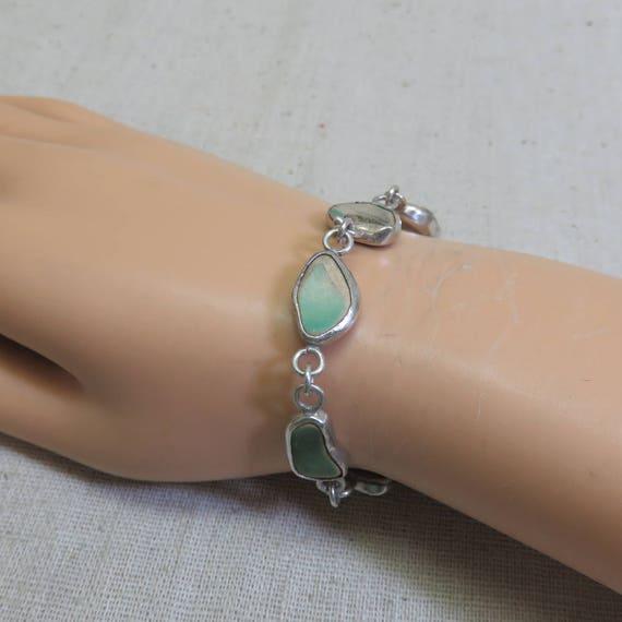 7.75 Inch Bracelet Vintage Handmade Sterling and Pottery Link Bracelet