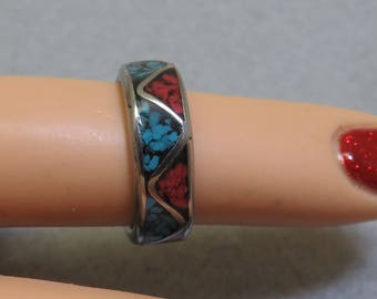 Turquoise and Jasper Mosaic Chip Alpaca Silver Ring, Size 4.75
