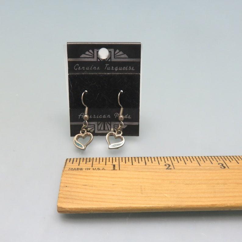 Native American Style Turquoise Heart Pierced Earrings Vintage Mint on Card