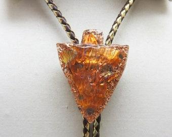 Resin Copper and Gold Foil Arrowhead Vintage Bolo Tie, 1970s Bolo Tie