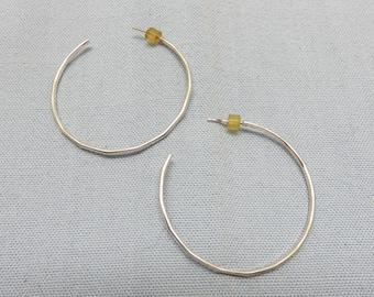 1 1/2 Inch Sterling Silver Fancy Wire Hoop Pierced Earrings, Vintage,