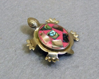 Enamel Abalone Shell Turtle Brooch, Silver Alpaca Metal, Vintage