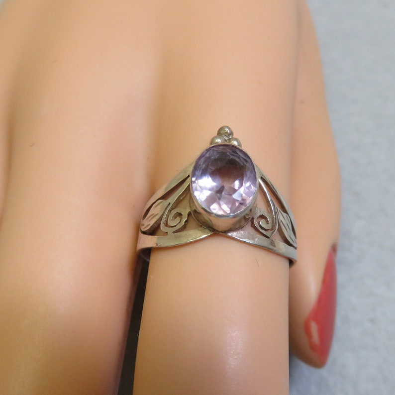 Real Amethyst and Sterling Silver Ring Interesting Cut Out image 0