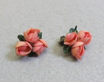 Rosebud Shell Clip On Earrings, Wedding Clip On Earrings