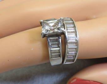 Vintage Emerald Cut Cubic Zirconia Engagement Wedding Ring Set