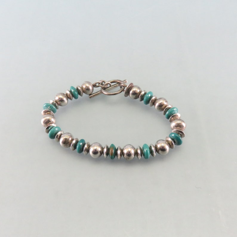 Vintage Sterling Bead and Turquoise Bracelet 8 Inch Signed image 0