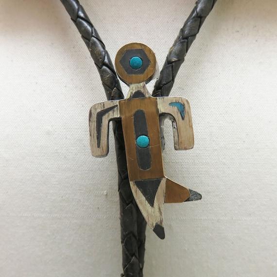 Historical Man Bolo Tie, Vintage Mixed Metals Mexi