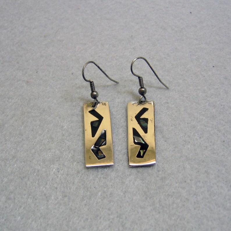 d522bdd9c Vintage Southwestern Design Alpaca Metal Pierced Earrings | Etsy
