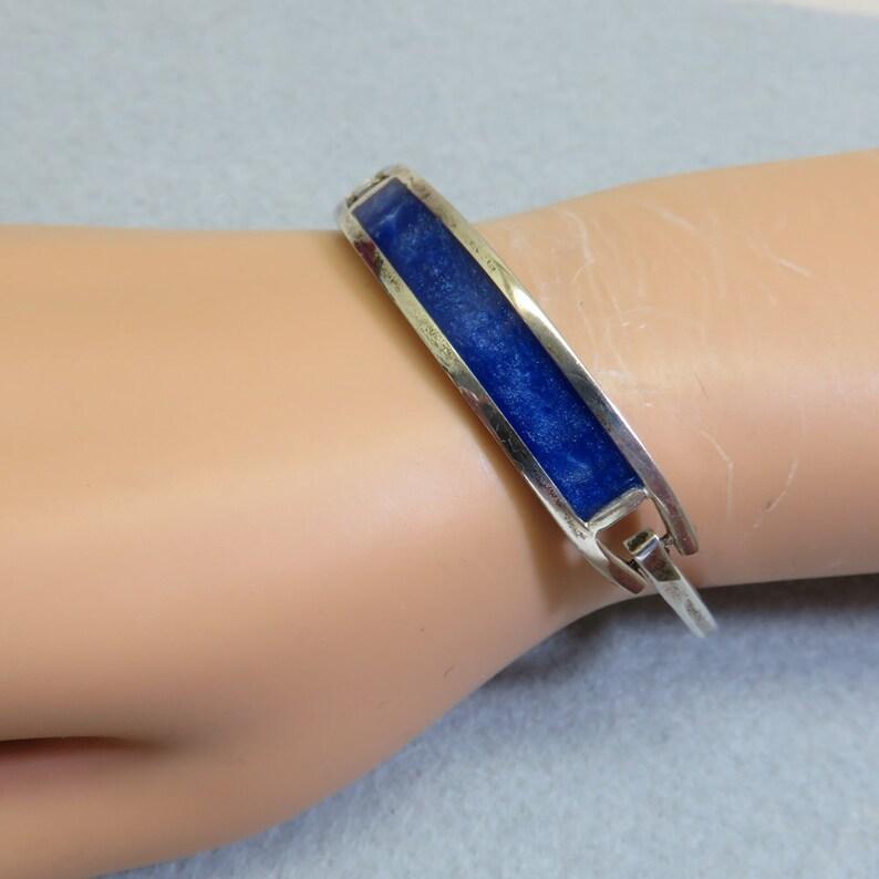 4ec6b98db Vintage Violet Blue Enamel Hinged Bracelet Mexican Alpaca | Etsy