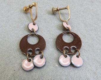 Pink and Brown Copper Enamel Dangle Screw On Earrings, Vintage