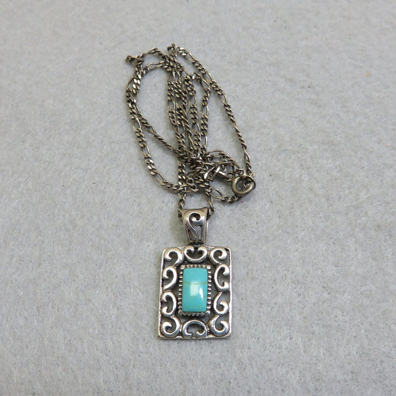 Vintage Sterling and Turquoise Slide Style Pendant 20 Inch image 0