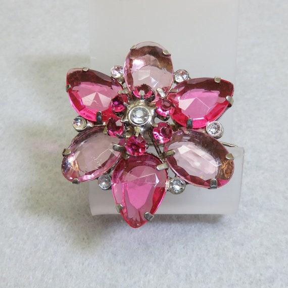 Vintage Pink Acrylic Gem Hair Barrette, Gem Flower