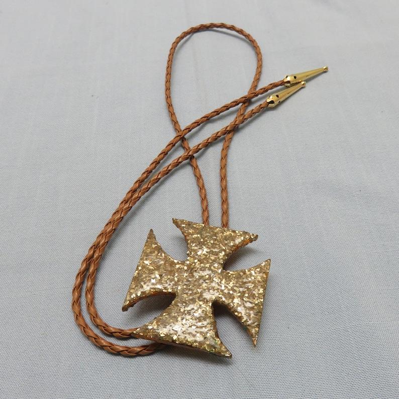 BIG Glittery Gold Maltese Cross Bolo Tie Rockin JK Designs Handmade Bolo
