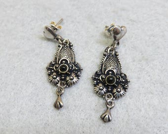 Vintage Victorian Style Pierced Earrings, Black Onyx Accent