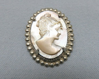 Vintage Mother of Pearl Cameo Brooch, Carved Gray and White Cameo