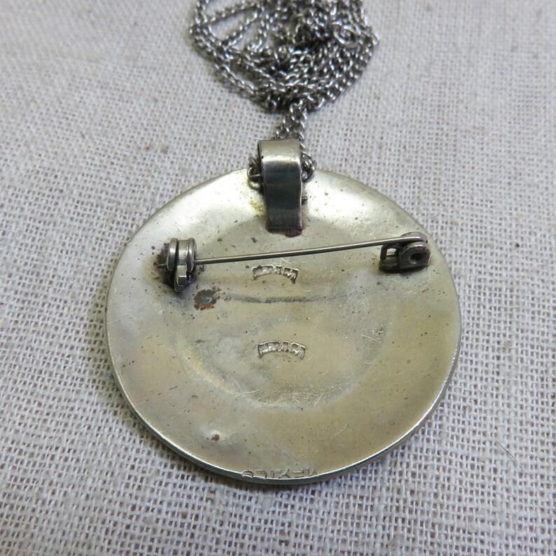 Vintage 1970s Abalone Shell Mayan Calendar Necklace Alpaca Silver Mayan Calendar Pin or Pendant