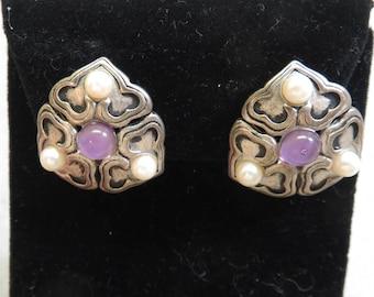 Amethyst Look Clip On Earrings, Vintage Silver Clip On Earrings
