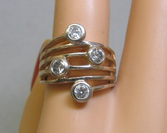 Modern Cubic Zirconia Wide Band Ring, Size 8