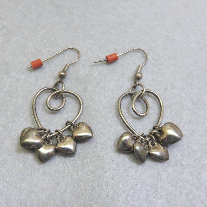 Vintage Sterling Heart Charm Dangle Pierced Earrings image 0