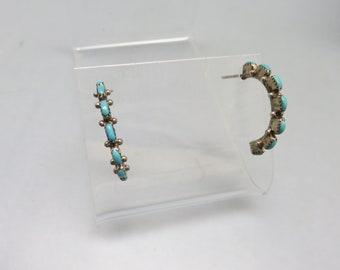 Navajo Turquoise Sterling Half Hoop Earrings, Petit Point, Vintage, Pierced